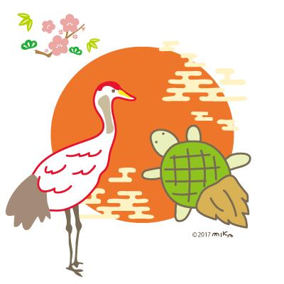 立っている鶴と亀