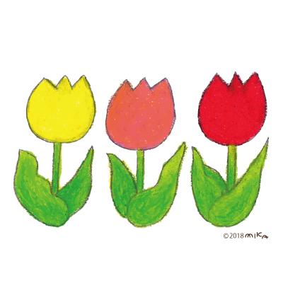 チューリップの赤・黄・ピンク(クレパス)