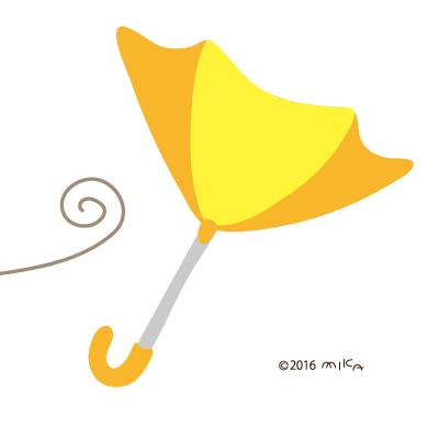 暴風でうらがえるカサ(黄色)