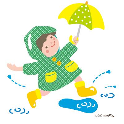 水たまりで遊ぶ子(カッパが緑)