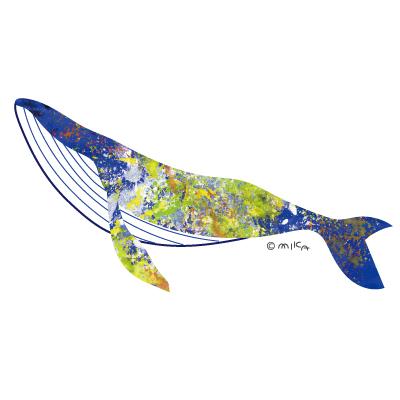 シロナガスクジラのイラスト(アクリル青と黄①)