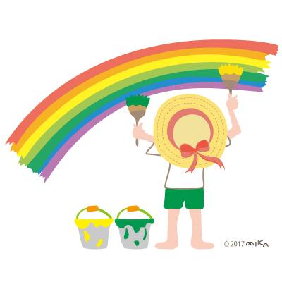 虹を描く女の子