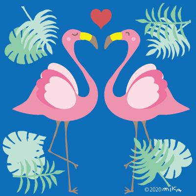 フラミンゴ2羽(背景青)