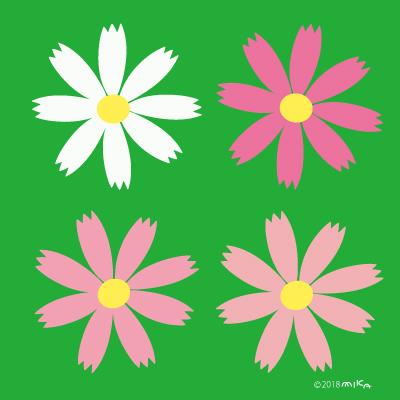 コスモスの花のデザイン(背景みどり)正方形
