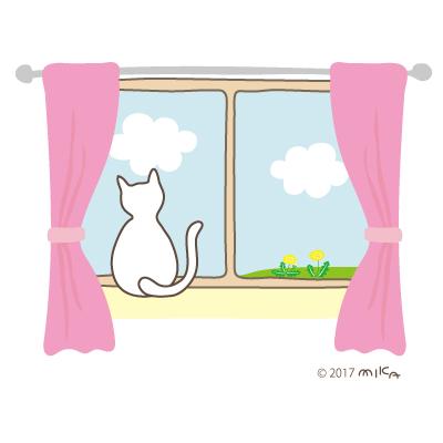 春の景色をながめるネコ
