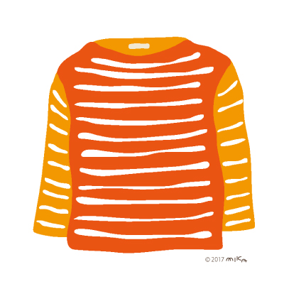 オレンジ×白のロングTシャツ
