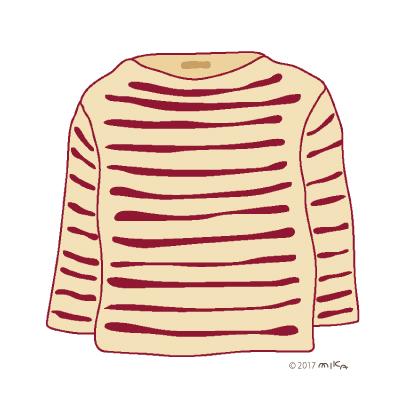 エンジ×ベージュのロングTシャツ
