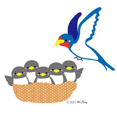 ツバメの親子のイラスト
