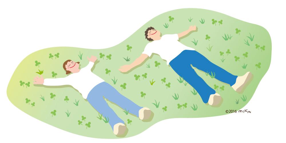 野原に寝ころぶ二人