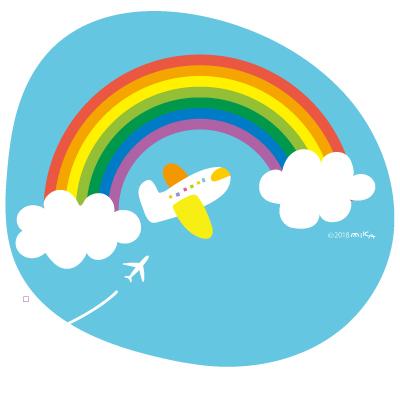 青空の虹に飛行機