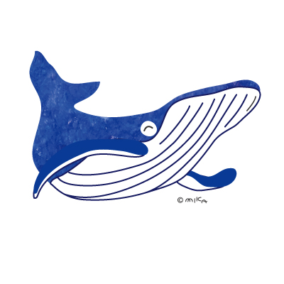 シロナガスクジラのイラスト(アクリル青①)