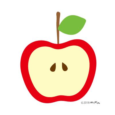 半分のりんご(葉一枚)