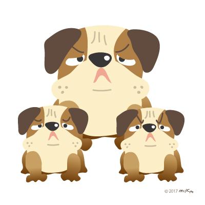 ブルドックの番犬三匹