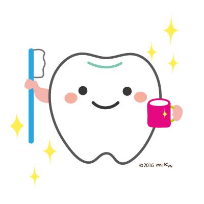 歯とコップと歯磨き