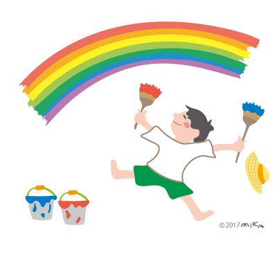 虹を描く男の子