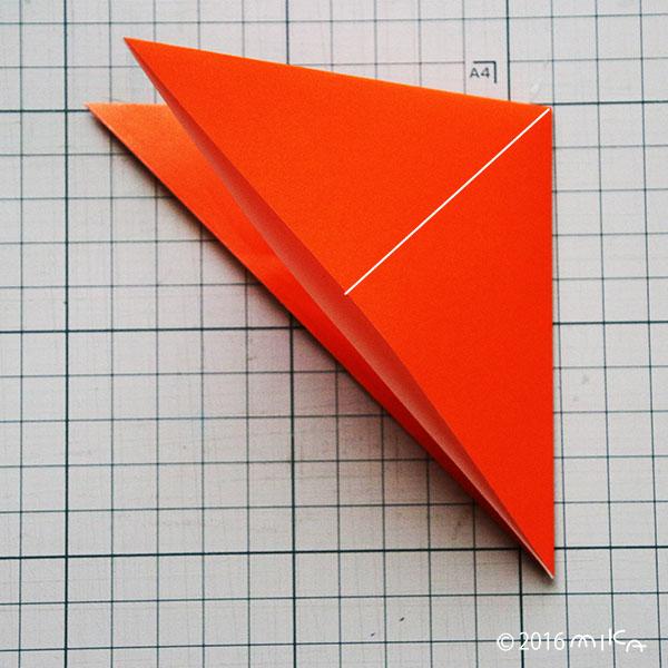 ③広げながら つぶすように折ります