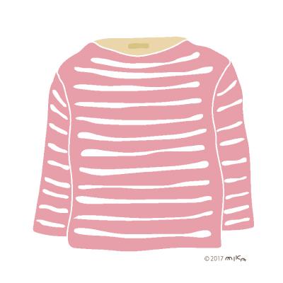ピンク×白のロングTシャツ