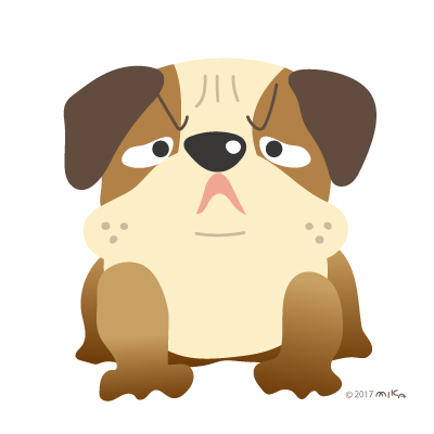 ブルドックの番犬(怒った顔)