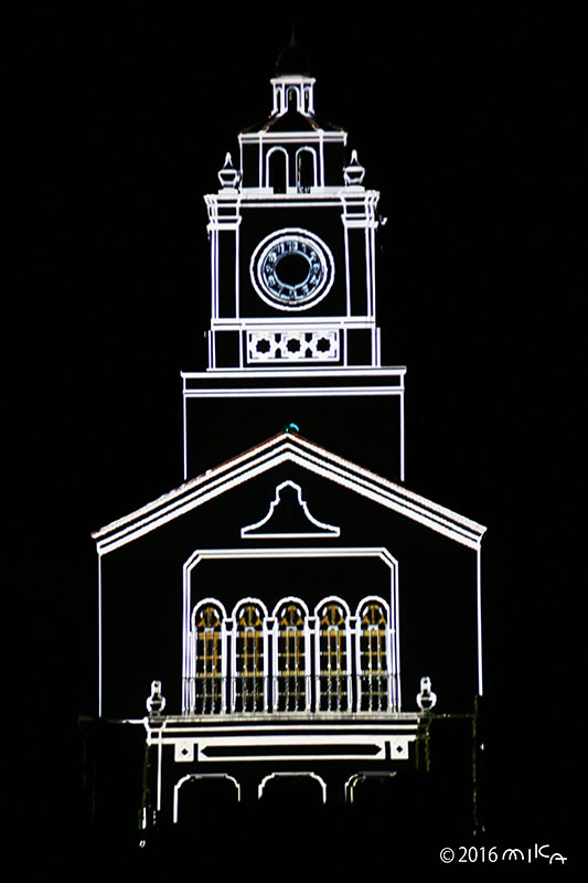 光る時計台(関西学院大学時計台プロジェクションマッピング2016年)