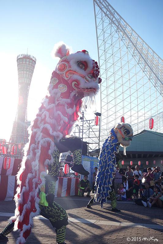 中国獅子舞(ロンロン赤と青)こうべ海の盆踊り(2015年8月23日)より