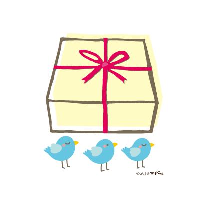 プレゼントの箱と青い鳥