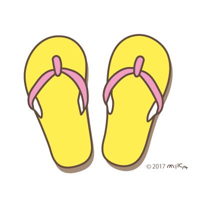ビーチサンダル(黄色×ピンク)
