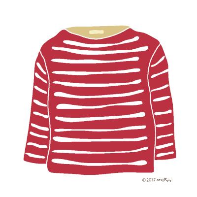 赤×白のロングTシャツ