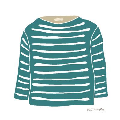 青緑×白のロングTシャツ