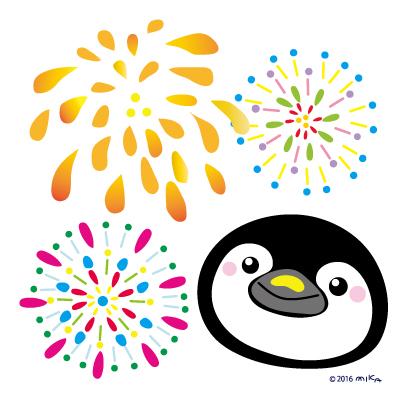 ペンギンと花火
