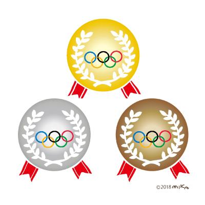 オリンピックの金・銀・銅メダル