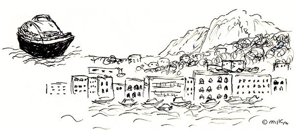 マリーナグランデ港でのラフスケッチ