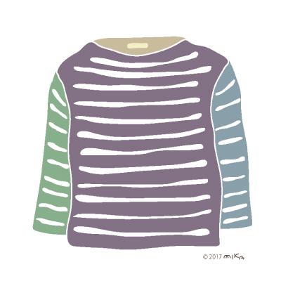 寒色系のロングTシャツ