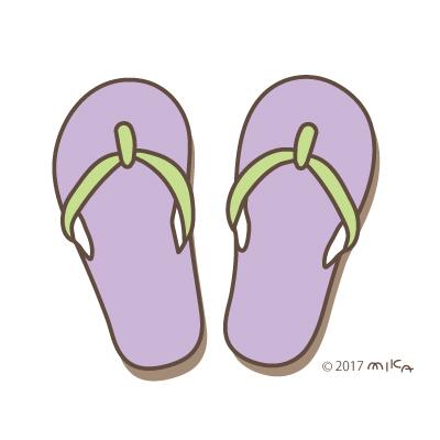 ビーチサンダル(紫×黄緑)