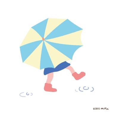 雨の足あと(かさをさした女の子)