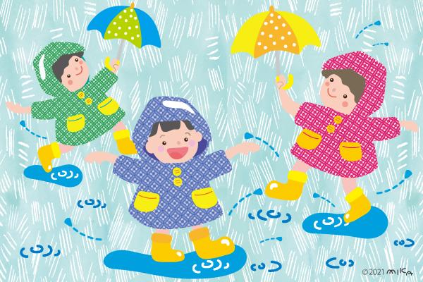 水たまりで遊ぶ子ども達
