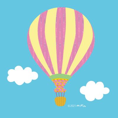 気球(ピンク×黄色)背景青空