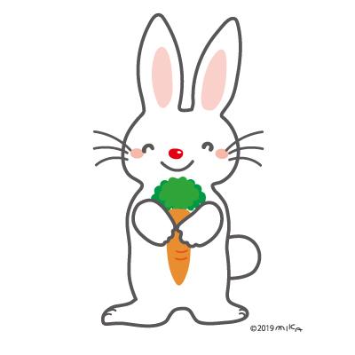 にんじんを抱える白ウサギ