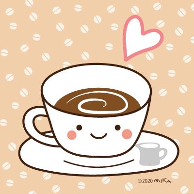 ホットコーヒー(背景コーヒー豆)