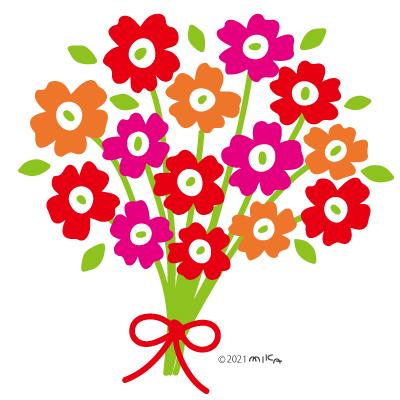 暖色の花束(背景白)