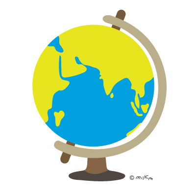 地球儀(ロシア・アフリカ・インド・中国など)