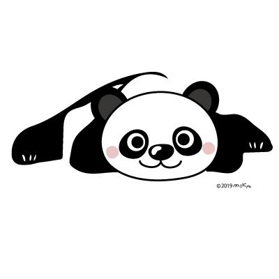 ごろんとパンダ(イラスト)
