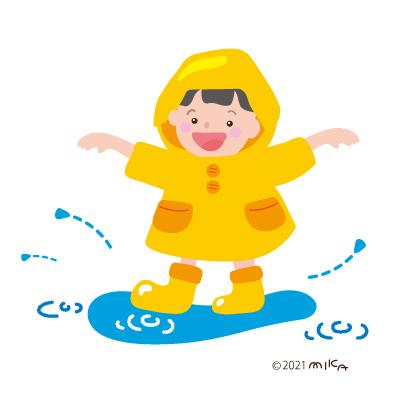 水たまりで遊ぶ子(カッパが黄色)