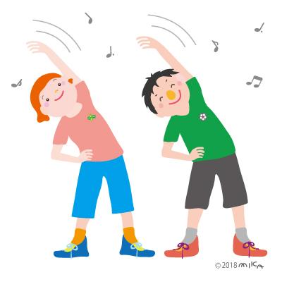 ラジオ体操(男性と女性)