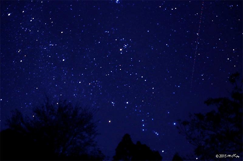 冬の星空に流れ星(わかりにくいですが右上から)