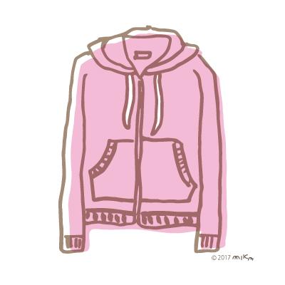 ピンクのパーカー(線)