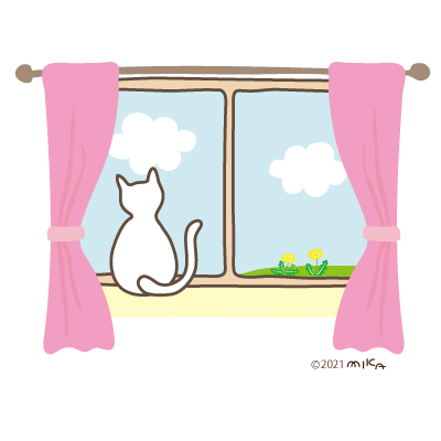 春の景色を眺めるネコ