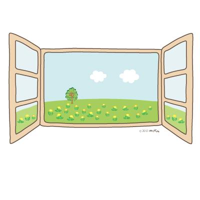 春の窓(草原)