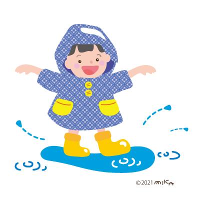 水たまりで遊ぶ子(カッパが青)