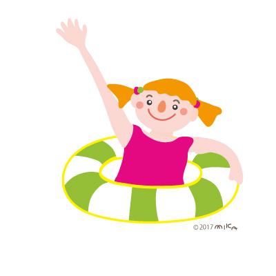 浮き輪で泳ぐ女の子