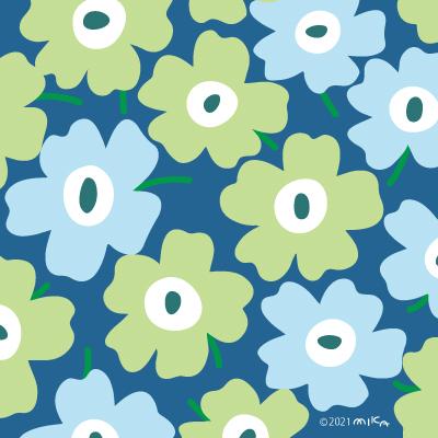 うすい黄緑×水色×背景くすんだ青(北欧風花のイラスト)